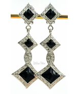 Bijoux Designs Earrings Vintage Art Deco Silver Tone and Black Enamel - $22.00