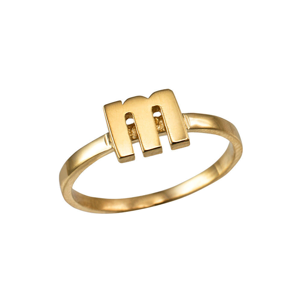 Yellow Gold Initial Letter M Stackable Ring