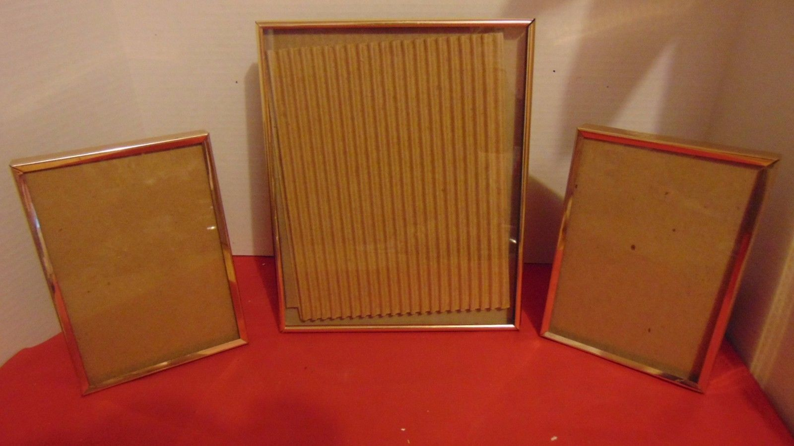 "Vintage Shadow Box Metal Picture Frames Two 5""X7""-One 8""X10"""