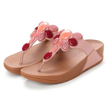 Womens FitFlop HONEYBEE JEWELLED TOE-THONG SANDALS Dusky Pink Smooth Lea... - $92.29