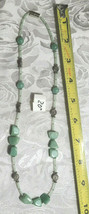 "Milky Peridot Chunky and Seed Beads Glass Beaded Necklace 20""  (#25)"