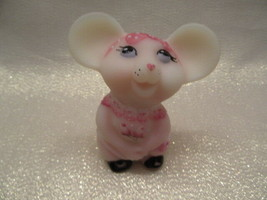 Fenton Art Glass 2005 Burmese Mouse With Hp Dress & Shoes - $65.00