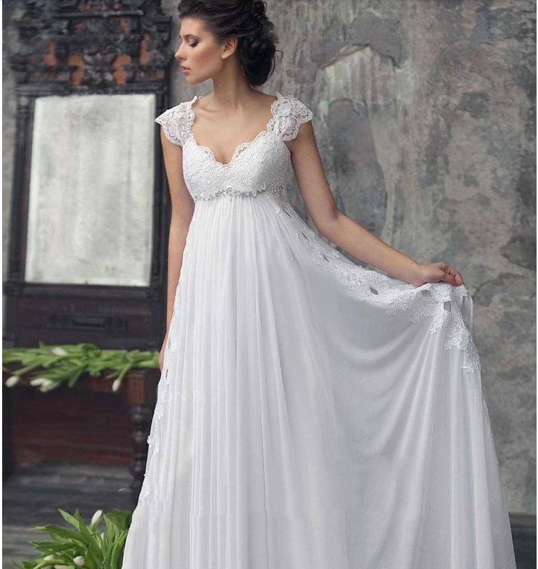 Designer Chiffon Wedding Dress High Waist Maternity Wedding Gown