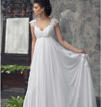 Designer Chiffon Wedding Dress High Waist Maternity Wedding Gown image 1