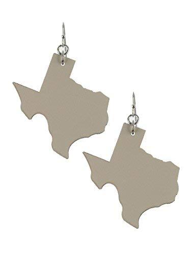 Light Weight State of Texas Dangle Earrings Faux Leather (Ivory)