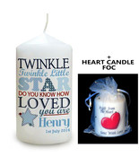 Cellini Candles Personalised Twinkle BOYS/GIRLS Gift Idea + FOC Heart Ca... - $18.80