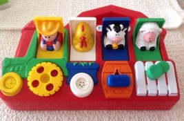 Fisher Price Farm Animals Popup Pals - Red Barn Farmer Chicken Cow Sheep... - $21.60