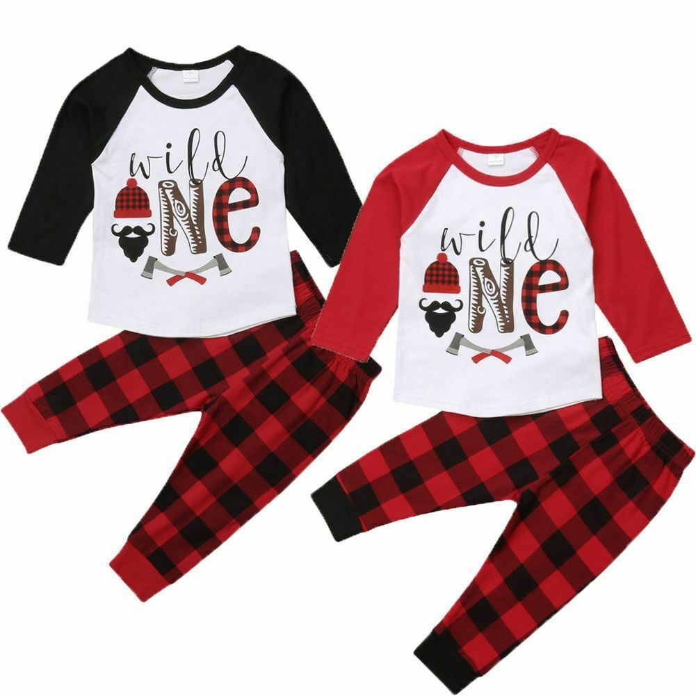 Primary image for Tops Plaid Pants Kids Boys 2pcs Set Baby Clothes Outfit Party Toddler Casual New