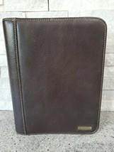 "Franklin Covey Brown Full Grain Leather Planner w/Designer Fabric 10.5"" ... - $44.88"