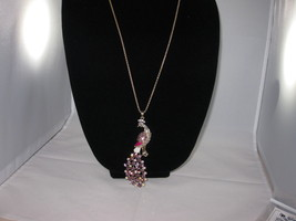 New Betsey Johnson Purple & Clear Rhinestone Peacock Pendant on long c... - $24.50