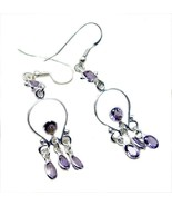 jaipur 925 Sterling Silver bonnie Natural Purple Earring gift UK - $15.03