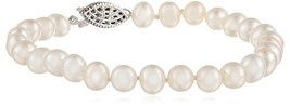 Sterling Silver A Grade White Freshwater Cultured Pearl Bracelet (6.5-7mm), - $29.36