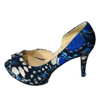Nine West Constance Platform Heels Peep Toe Pumps Women Size 7.5 M Blue 4 inch - $29.69