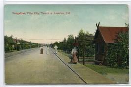 Bungalows Villa City Street Scene Venice California 1908 postcard - $6.93