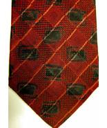 Nuovo Ermenegildo Zegna Rosso Scuro Con Nero Cravatta di Seta Italia - $60.03