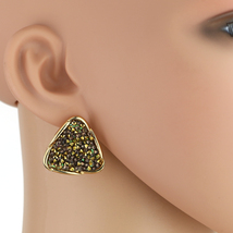 UE- Stylish Textured Gold Tone Earrings With Embedded Swarovski Style Crystals - $16.99