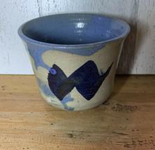Vintage Stoneware Blue Pottery Pot Signed - $11.88