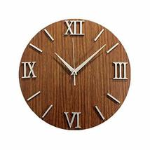 PANDA SUPERSTORE Peach Wood Grain Wall Clock Creative Look Home Decoration(12'')