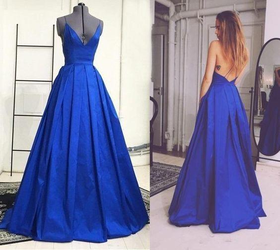 A-line long royal blue v-neck evening dresses,evening gown 2018,BD2720