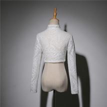 Long Sleeve Wedding Lace Cover Ups Retro Style Lace Bridal Boleros, white, plus image 3