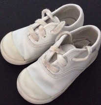 KEDS Girls Size US 6 Wide White Leather Lace Up Sneakers Shoes KT30103 - $6.93
