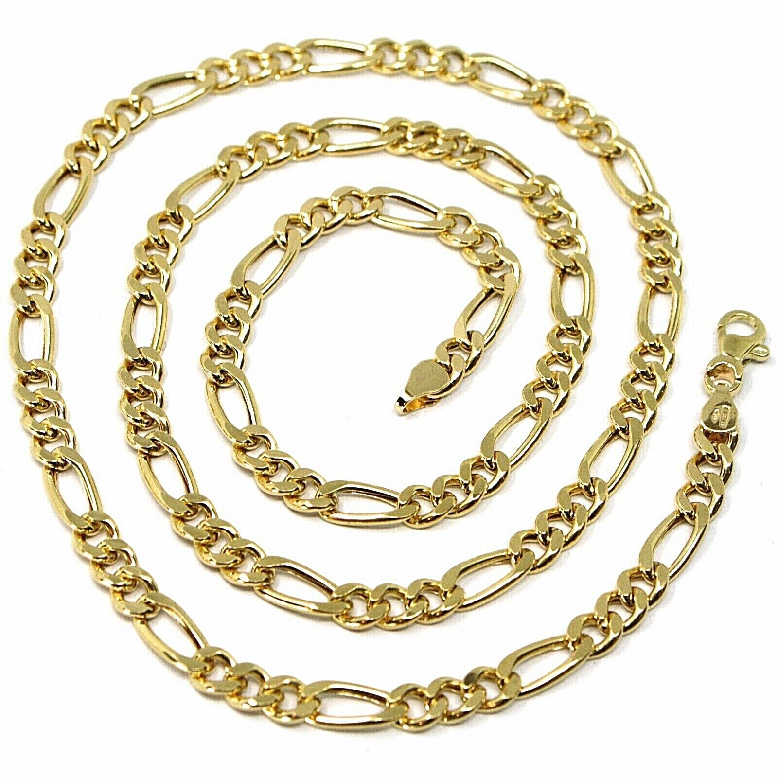 18K YELLOW GOLD CHAIN BIG 5 MM ROUNDED FIGARO GOURMETTE ALTERNATE 3+1, 24 INCHES