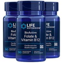 Life Extension BioActive Folate 400mcg & Vitamin B12 300mcg 3X90 Caps - $27.67