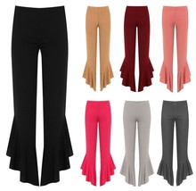 Womens Flared Frill Asymmetric Hem Plain and Check Trousers Ladies Stretch Pants - $17.88