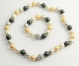 ESTATE Jewelry HIGH END GLASS PEARL BRACELET NECKLACE CONVERTIBLE SET PA... - $55.00