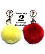 2x Large Rabbit Fox Fur Pom Fluffy Ball Handbag Purse Keychain Key Chain... - $6.99+
