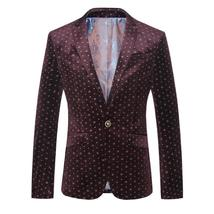 New England style Men Gold velvet printed suit casual Slim single button... - $1,228.35+