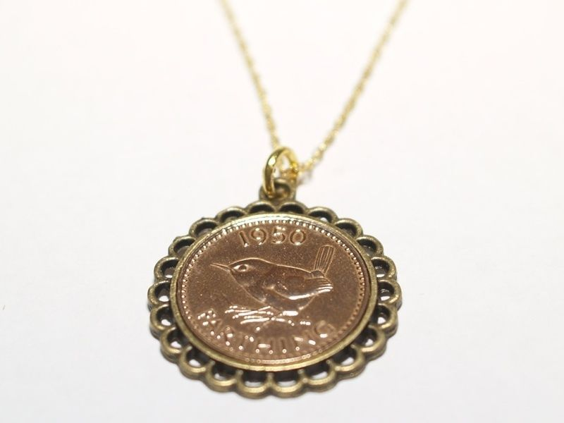 1943 Farthing Coin Gold Plated Pendant Ready To Hang Fine Jewelry