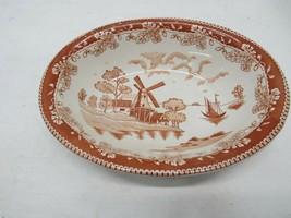 Vintage Ceramic Windmill Pattern Vegetable Bowl, Made in Japan - $19.79