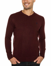 Men's Sweater Solid V-Neck Pullover U.S. Polo Assn. Long Sleeve Dark Eggplant