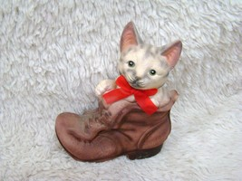 Vintage Hollow Ceramic Handpainted Kitten w/Red Bow in a Boot Figurine, ... - $9.99