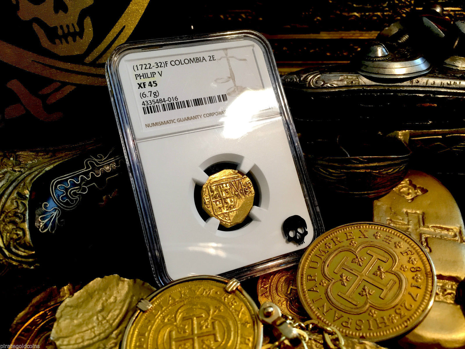 """COLOMBIA 1722-32 """"ONLY 2 KNOWN TIED FINEST"""" 2 ESCUDOS NGC 45 PHILIP V GOLD COIN"""