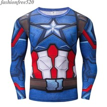 Men T-Shirt Captain America 3D Printed Gym Fitness Sport Elastic Tee Tight Tops - $11.99