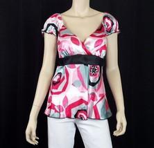 AGB Career Blouse S Cap Sleeve V-Neck Surplice Bodice Back Tie Pink Gray... - $10.84