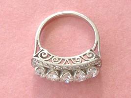 UNIQUE ART DECO 1.08ctw BRILLIANT DIAMOND PLATINUM FANCY 5-STONE RING 1950 - $2,969.01