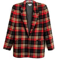 Talbot's Women's 8 Blazer Suit Jacket Wool Single Button Plaid Pockets Lined  - $19.99