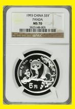 1993 CHINA 5Y  999 SILVER PANDA NGC MS 70 NO SPOTS NO BLEMISHES - $429.99