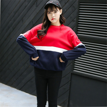 Autumn New Spell Color Stitching Harajuku Women Hoodies Pullover Fleece Loose Fe image 4