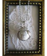 White Howlite Gemstone Sphere & Dragon Silver Tone Ball Chain Pendant Ne... - $7.60