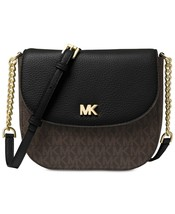 NWT MICHAEL KORS SIGNATURE HALF DOME CROSSBODY BAG LOGO BLACK BROWN - $124.81