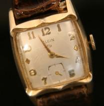 Men's vintage fancy gold case 1938 21 jewel manual wind Elgin dress wristwatch  - $74.25