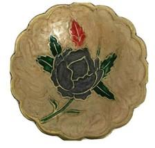 Vintage Brass Cloisonne Trinket Tray Dish Brass Gold Silver Gray Flower ... - $15.83