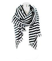 Le Nom Simple Two Way Stripe Scarf (Black) - $12.86