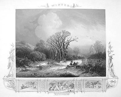 Primary image for WINTER SOLITUDE Freezing Weather River Trees - Antique Print Ornamental Border