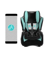 PERSONALIZED BABY TODDLER CAR SEAT STRAP COVERS GRAY CHEVRON WITH BLUE - $14.68