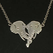 Handmade Elephant Head Heart Necklace Choker - 16'' - 24'' Chain - $52.00